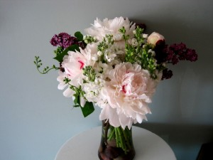 Peonies with lilac and stock