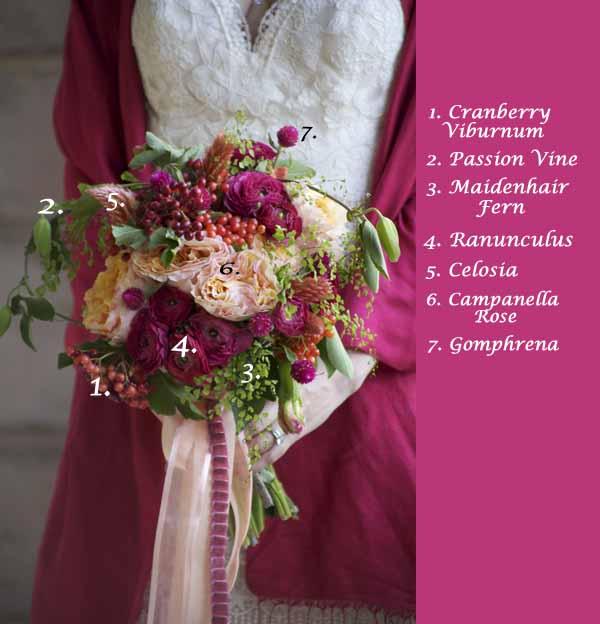 Gomphrena, Campanella Rose, Ranunculus, Cranberry Viburnum, Maiden Hair Fern, Passion Vine