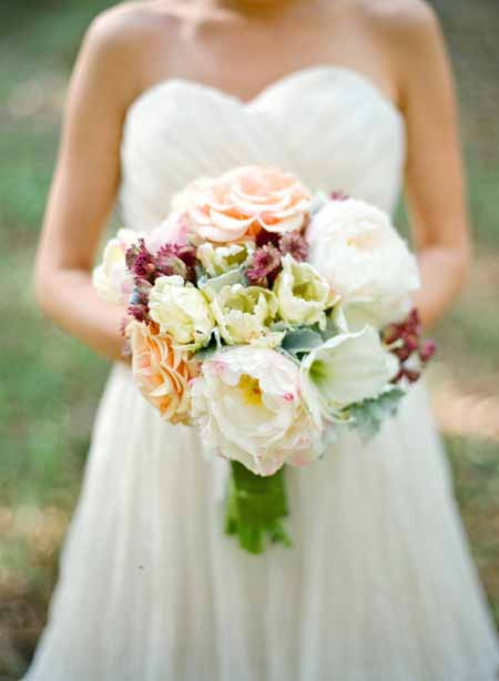peonies roses and tulips bridal bouquet