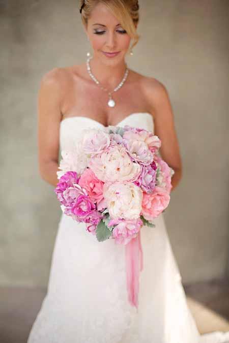 bridal bouquet of peonies, garden roses