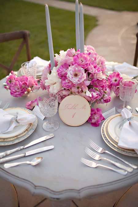 flower centerpiece pink garden roses