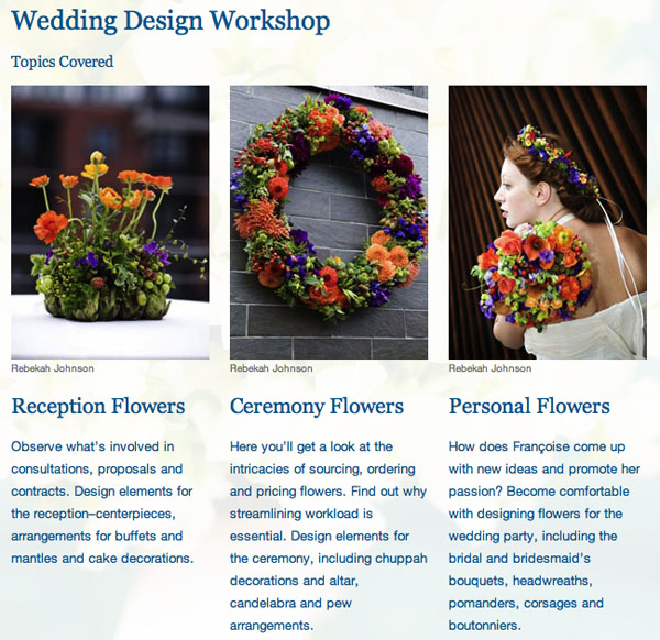 wedding design floral classes