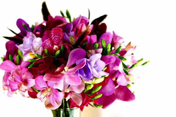 pink and purple orchid bridal bouquet