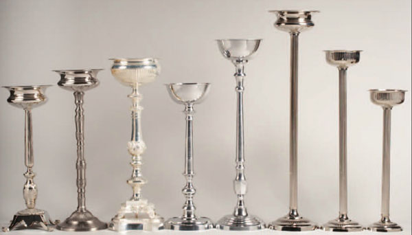 silver candelabra stands for flowers and weddings