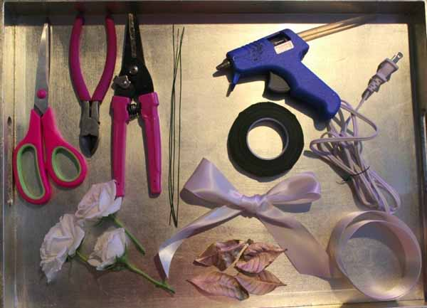 supplies needed to make a wrist corsage