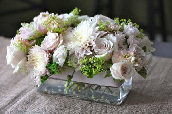 romantic vintage white and blush flower centerpiece