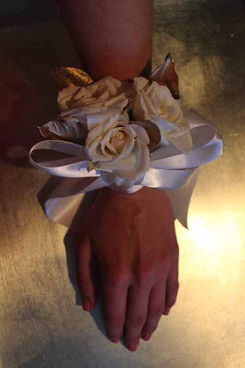 wristlet corsage on display