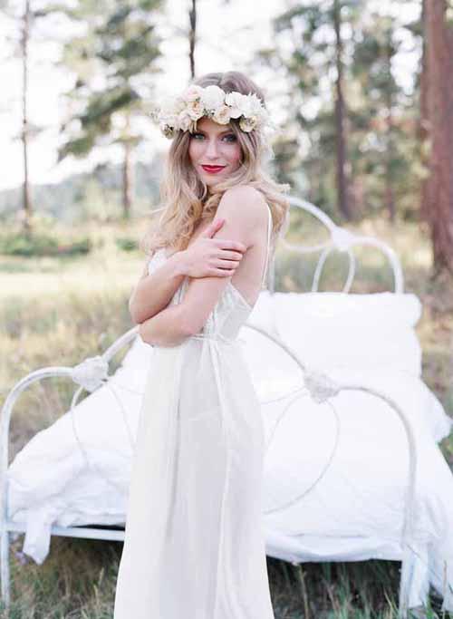 flower wreath on a bride