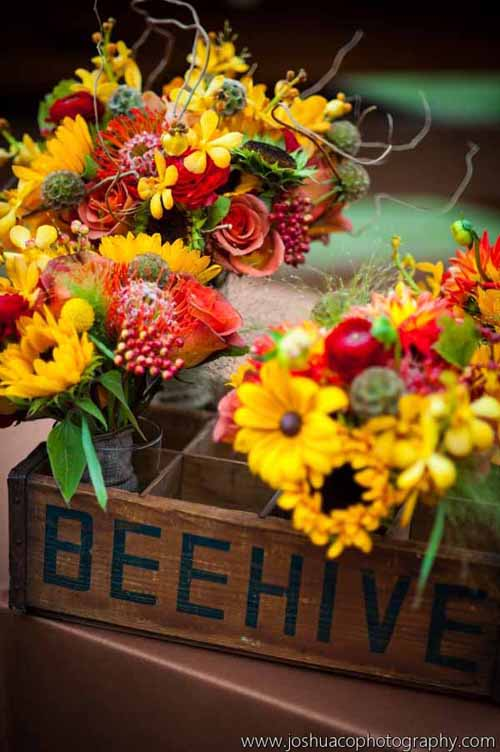 Yellow and red bouquets