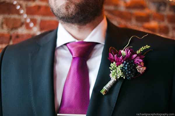 burgundy and blue boutonniere