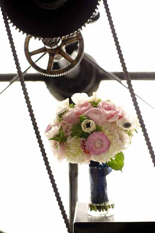 Bridal bouquet of pink peonies hydrangea and anemones
