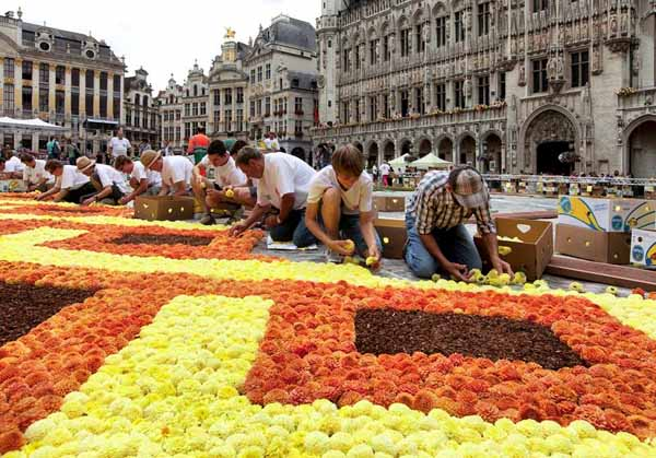 making the flower carpet
