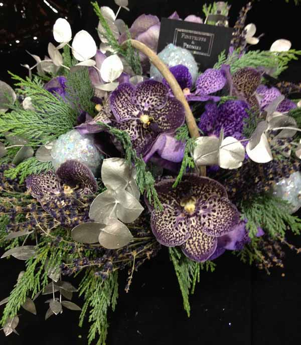 flower arrangements with purple vanda orchids