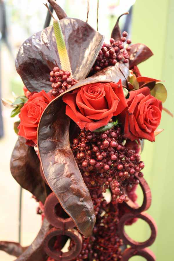 burgundy pepper berry flower design