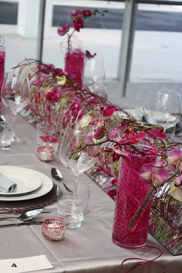 magenta and silver modern European flower centerpiece