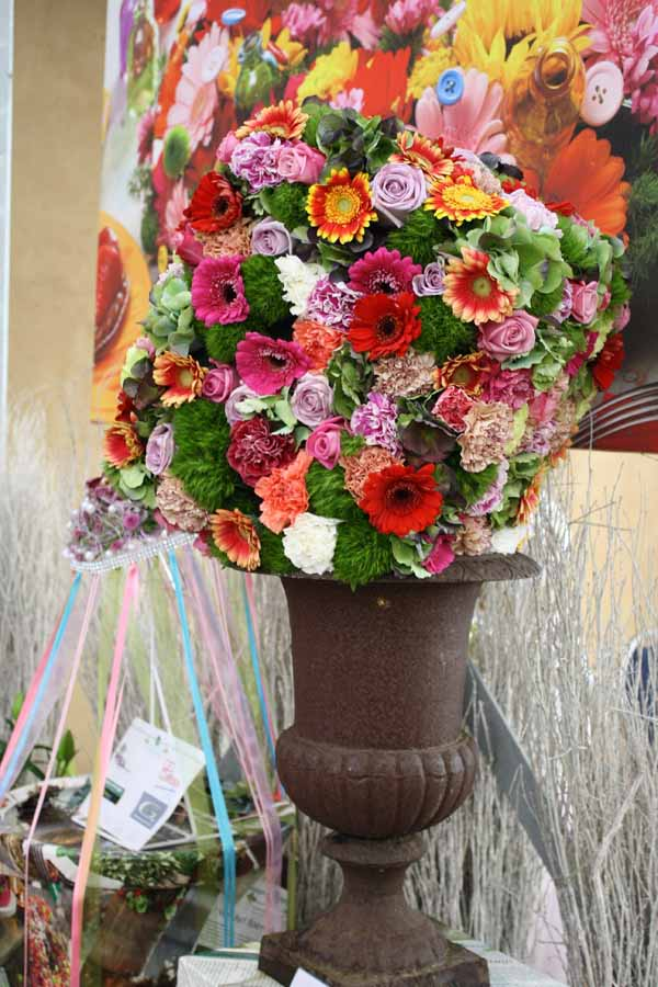 cube style flower arrangement