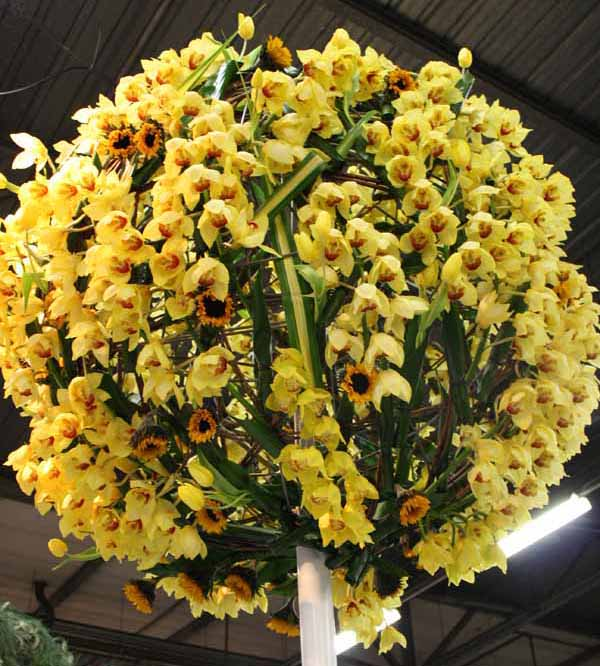 ball made out of orchids and sunflowers