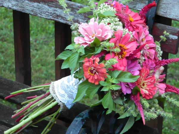 bridal bouquet with pink zinnias