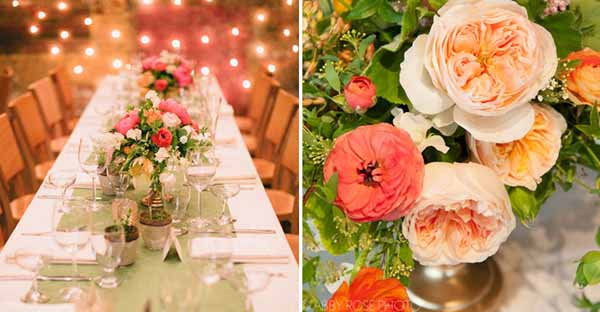 peach ranunculus and juliet garden roses centerpiece