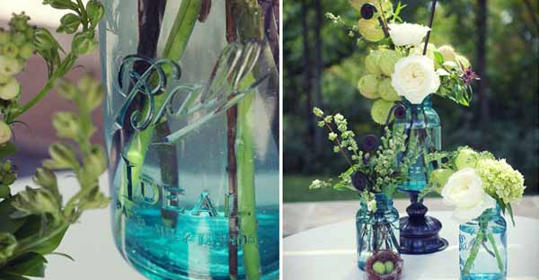 blue mason jars white and green flowers