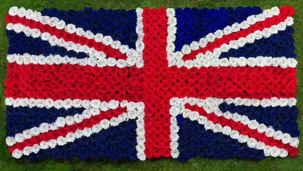 OnlyRoses Union Jack Flag made out of roses