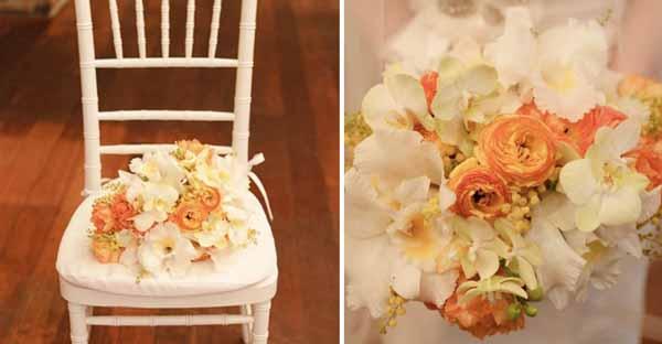 bridal bouquet orchids acacia ranunculus